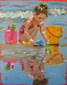 beautiful painting of young girl on beach