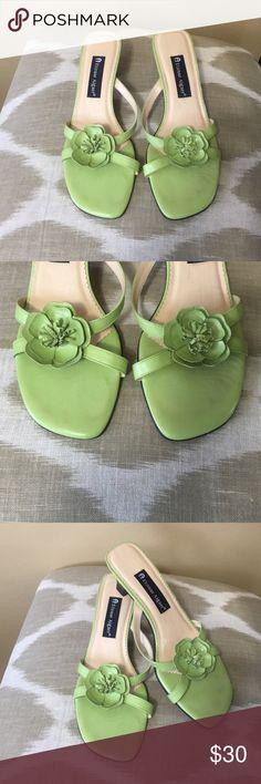 "Etienne Aigner Green Leather Slides Sandals 8M Etienne Aigner Green Leather Slides Sandals Size 8M With 2"" Heels Etienne Aigner Shoes Sandals"