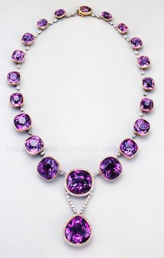 Antique Siberian amethyst and diamond necklace that any Modern Gladiator can appreciate.