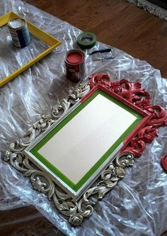 Paint + Mirror = New Decor Refurbished Mirror, Refurbished Furniture, Recycled Mirrors, Mirror Painting, Thrifty Decor, Article Design, Diy Mirror, Furniture Makeover, Diy Projects