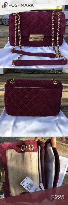 """NWT Michael Kors Plum Quilted Shoulder Bag Brand new with tags. Plum quilted bag. Suede. The bag can be worn as a single strap (51"""" long strap) or a double strap (29""""). The length of the bag is: 10-1/2"""". The height is: 7"""". The width is: 4"""". Has a zippered pocket inside and a back pocket. Comes with the dust bag, gold hardware. Michael Kors Bags Shoulder Bags"""