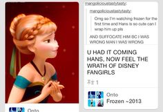 """I love it when this happens!! Anna just looks so grateful for the frozen fandom, like """"awww... you guys would do that for me?"""""""