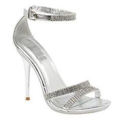 silver heels for prom   Ladies Silver Diamante High Heel Shoe Bridal Rhinestone Sandals Prom ...