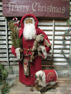 OLde Toys Santa~  Limited Edition by Primitive Folk Artist Sue Corlett    Available Sunday Dec 9th~ 2012  http://1897houseprimitives.blogspot.com/