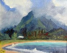 "Painting ""Hanalei Bay"" by plein air painter of Hawaii artist Dawn G. Lundquist."