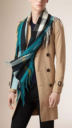 Burberry Teal The Fringe Scarf in Check Cashmere - A long check scarf crafted from soft cashmere woven in Scotland.  Discover the scarves collection at Burberry.com