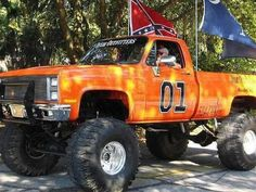 The General Lee jacked up. Marcus has a truck just like this!(: