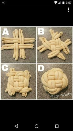How to braid round challah: – Gesundes Abendessen, Vegetarische Rezepte, Vegane Desserts, Baking Tips, Baking Recipes, Bread Shaping, Bread Art, Braided Bread, Braided Updo, Jewish Recipes, Bread And Pastries, Challah