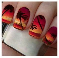 Awesome tropical nail art