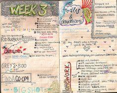 doodles / color / fun / weekly planner / moleskine
