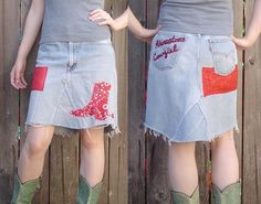 recycled blue jean skirt - Rhinestone Cowgirl