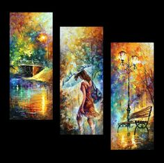 """AURA OF AUTUMN SET OF 3 — PALETTE KNIFE Oil Painting On Canvas By Leonid Afremov - Size 16""""X40"""" EACH"""