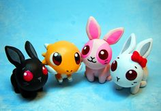 Polyclay rabbits and dragon miniatures