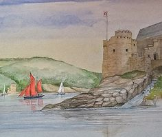 Dartmouth Castle  watercolour painting by Edward Girard millmansholidaycottages.co.uk Dartmouth Castle, Watercolour Painting, Zentangle, Paintings, Paint, Zentangles, Painting Art, Zen Tangles, Draw