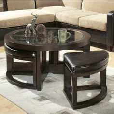 Homelegance Redell Round Glass Top Cocktail Table With 4 Ottomans: Amazon.ca: Home & Kitchen