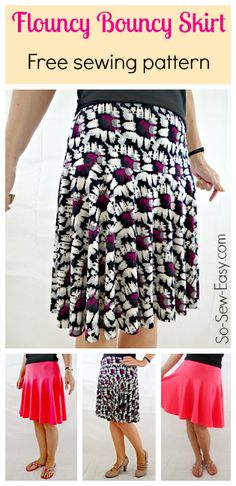 Free skirt pattern - The Flouncy Bouncy Skirt - So Sew Easy : This skirt goes straight to the top of my summer sewing list! The cotton jersey is great, but I LOVE the drape in the ITY knit version. Sewing Patterns Free, Free Sewing, Clothing Patterns, Dress Patterns, Free Pattern, Skirt Pattern Free, Sewing Diy, Coat Patterns, Sewing Hacks