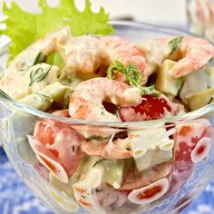 Avocado shrimp salad – Ingredients of the recipe: 2 avocados, 250 g peeled shrimp, 2 tomatoes, 1 tablespoon mayonnaise, lemon juice Easy Salad Recipes, Salad Dressing Recipes, Salmon Recipes, Healthy Recipes, Detox Recipes, Antipasto, Ma Baker, Shrimp Avocado Salad, Salmon Avocado