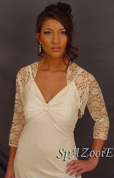 Ivory lace bolero shrug jacket wedding bridal 3/4 sleeve - (Small - Plus size). $34.99, via Etsy.