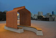 Nuqat Font applied to poetic public furniture (folly). Design: René ...