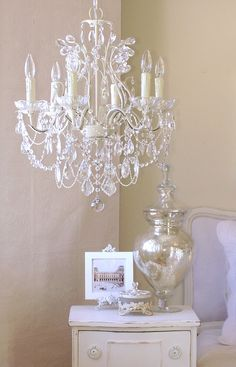 Vintage White Chandeliers | Light Leafy Antique White Crystal Chandelier