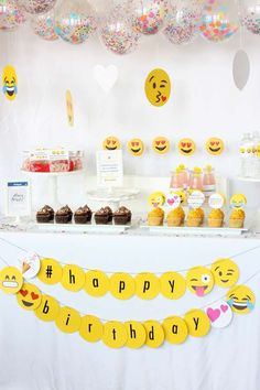 What a fun emoji birthday party! See more party ideas at CatchMyParty.com!