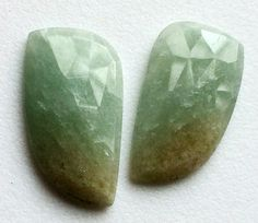 Green Aventurine Rose Cut Flat Back Cabochons by gemsforjewels