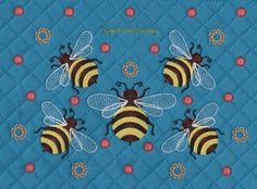 Bumblebee and Polka Dots Machine Embroidery Design for Handbags