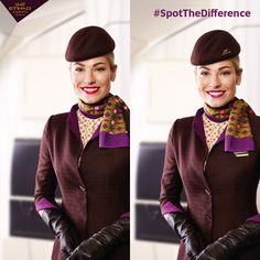Only one of these photos shows our Cabin Crew in the correct Etihad uniform. Can you spot the difference(s)?  Hint: we can count 6.
