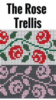 Rose Trellis chart for hand or machine knitting. Free chart for rose trellis Rose Trellis chart for hand or machine knitting. Free chart for rose trellis Knitting Charts, Knitting Stitches, Free Knitting, Knitting Machine, Knitting Patterns, Intarsia Patterns, Beginner Knitting, Sock Knitting, Vintage Knitting
