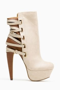 Mona Mia Nude Two Tone Strappy Buckle Booties Shoes ♡ Heels
