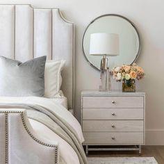Mirrors Behind Lamps, Mirror Behind Nightstand, Dresser As Nightstand, Nightstand Ideas, Mirror In Bedroom, Mirror Over Bed, Mirror Work, Nightstands, Airy Bedroom