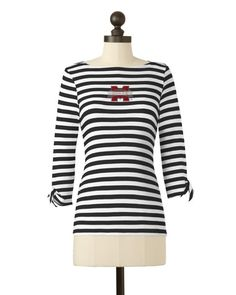 Mississippi State Bulldogs | Striped Boat Neck Top | meesh & mia