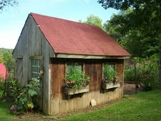 Hen house with window boxes