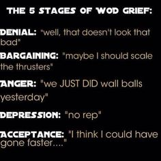 More crossfit love: 5 stages of WOD grief. Motivation Crossfit, Crossfit Memes, Crossfit Baby, Crossfit Chicks, Gym Memes, Gym Humor, Workout Humor, Diet Humor, Crossfit Inspiration