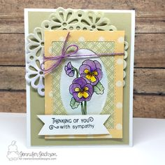 Floral Sympathy Card by Jennifer Jackson | Flower Garden Stamp set by Newton's Nook Designs #newtonsnook