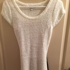 ✨White Knit Dress with Sequins and Black Belt✨ Beautiful white knit dress with sequins. Worn once. Comes with black belt. Not American Eagle, just used for exposure. GREAT condition and price. Make an offer! American Eagle Outfitters Dresses