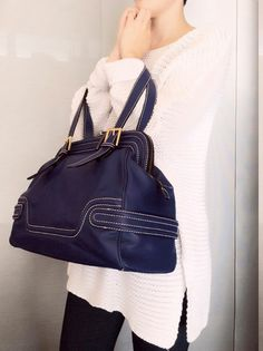 Purple blue leather bag, Soft leather totebag, Women leather purse, Chic design, Purple leather satchel, Leather handbag, Gift for women