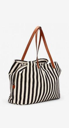 Roomy black & white striped fabric tote bag