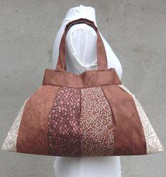 Sac à main, pochette, maquillage, porte document, patchwork, tissu,  marron beige, ensemble, accessoire, cadeau, femme 8042e342dcc