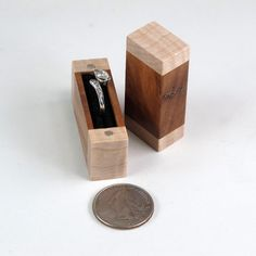 Acacia and Curly Maple Wooden Engagement Ring Box by JMCraftworks