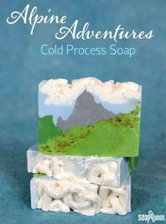 Alpine Adventures Cold Process Soap Tutorial. Scented with a combination of Fresh Snow Fragrance Oil and Heavenly Honeysuckle Fragrance Oil, this soap smells floral and clean.
