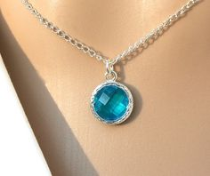 Malachite Blue Faceted Pendant - Malachite Blue Zircon Sterling Silver Plated Necklace - Gift For Her - Cruise Jewelry - Canadian Shop R12