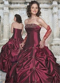 Ball Gown Strapless Floor-length satin quniceanera dress QD025
