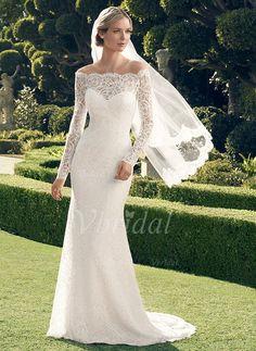 Robes de mariée - $193.93 - Forme Fourreau Epaules nues Traîne moyenne Dentelle Robe de mariée (0025055887)