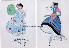 SD69-LOVELY-LADIES-swap-playing-cards-MINT-CONDITION-out-for-a-walk-linen
