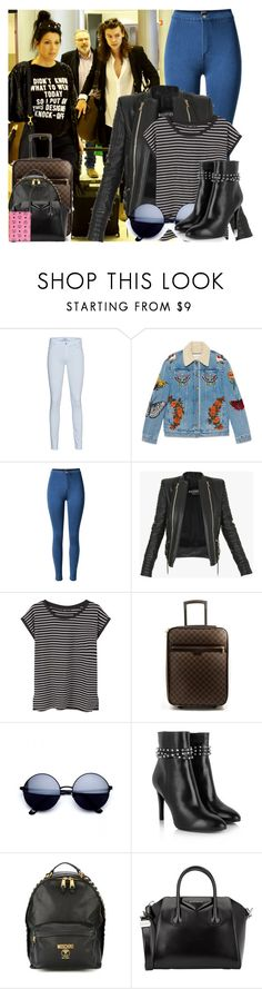 """""""Airport With Harry, Anne and Robin"""" by angelbrubisc ❤ liked on Polyvore featuring 7 For All Mankind, Gucci, Balmain, MANGO, Louis Vuitton, Yves Saint Laurent, Moschino, Givenchy and MCM"""