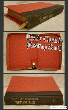 Book Clutch Handmade (Titled: Rising Sun) Gray Spine with Orange Cover, Zips Closed.