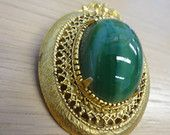 Vintage Florenza signed Gold Tone Brooch with Jade Green Oval Cabochon from RockALittleVintage on Etsy
