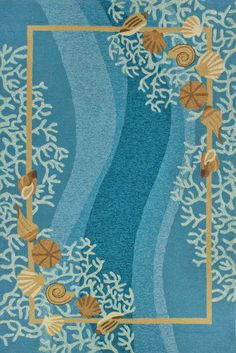 Shells and White Coral with Shells Area Rug - beautiful blues and seashell pattern, perfect for a beach cottage!