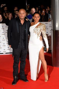Glamorous: Mel B arrives with her husband Stephen Belafonte to host the MOBOs 2014 in London